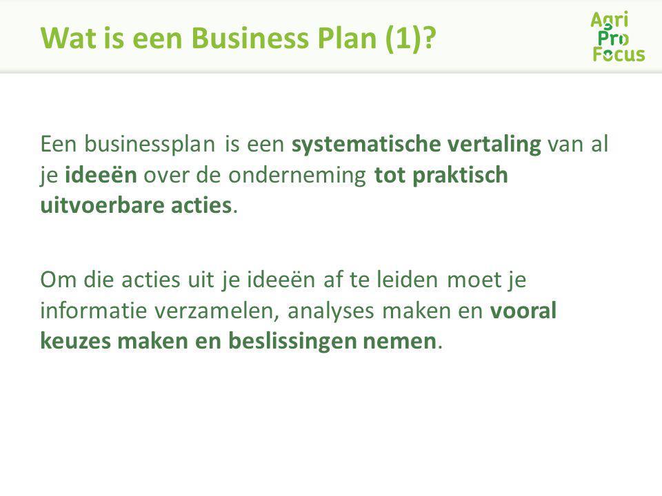 Wat is een Business Plan (1)? Een businessplan is een systematische vertaling van al je ideeën over de onderneming tot praktisch uitvoerbare acties. O