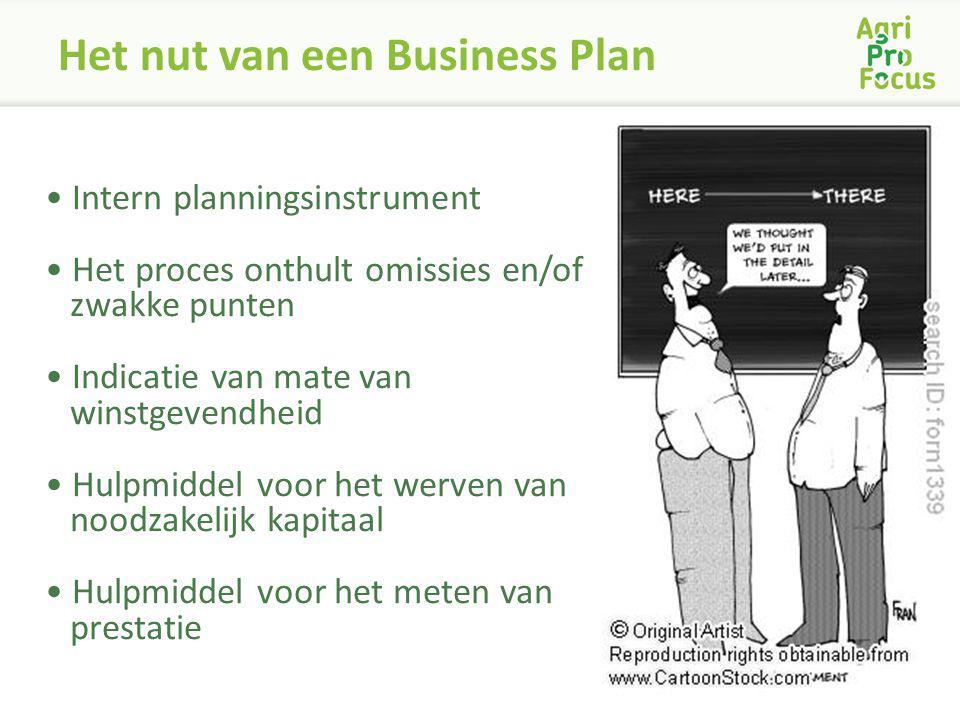 Het nut van een Business Plan Intern planningsinstrument Het proces onthult omissies en/of zwakke punten Indicatie van mate van winstgevendheid Hulpmi