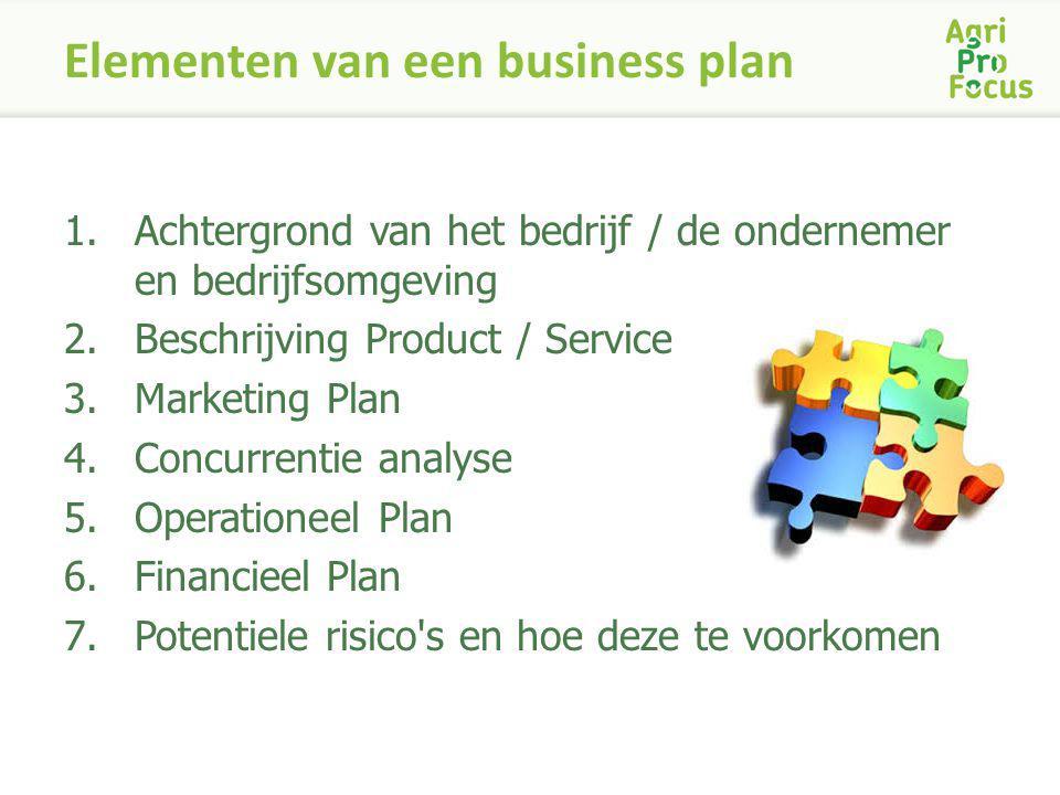 Elementen van een business plan 1.Achtergrond van het bedrijf / de ondernemer en bedrijfsomgeving 2.Beschrijving Product / Service 3.Marketing Plan 4.