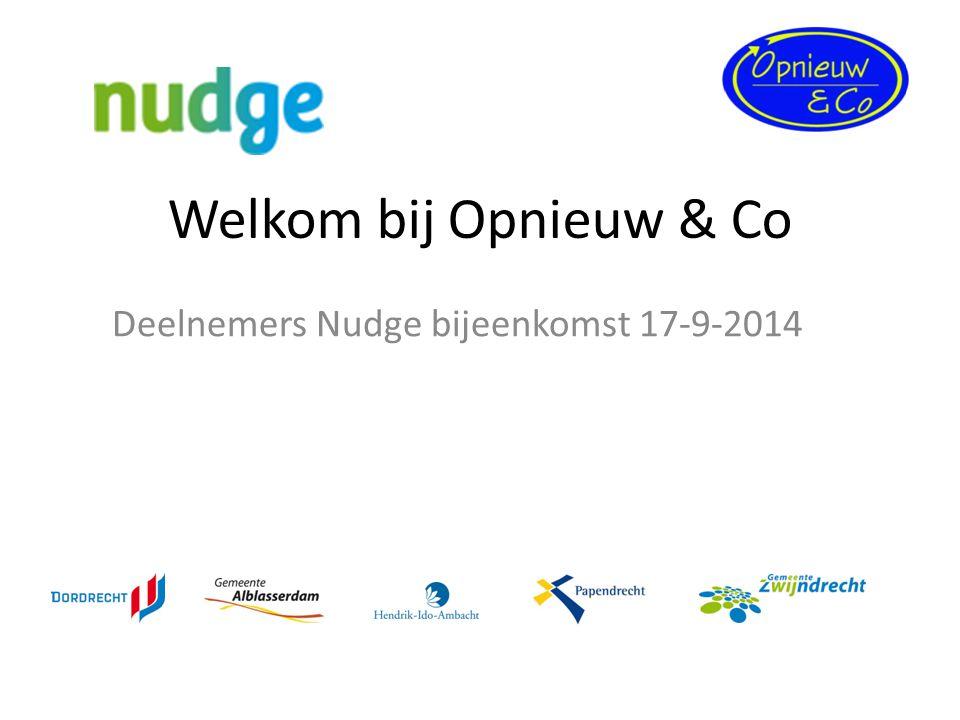 Welkom bij Opnieuw & Co Deelnemers Nudge bijeenkomst 17-9-2014