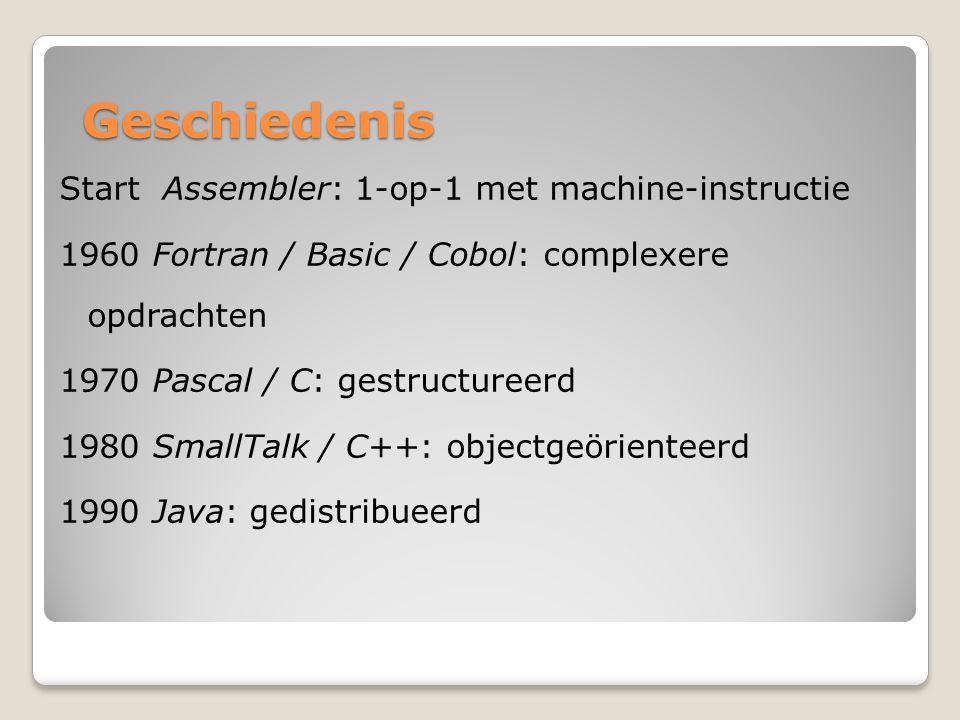 Geschiedenis Start Assembler: 1-op-1 met machine-instructie 1960 Fortran / Basic / Cobol: complexere opdrachten 1970 Pascal / C: gestructureerd 1980 S