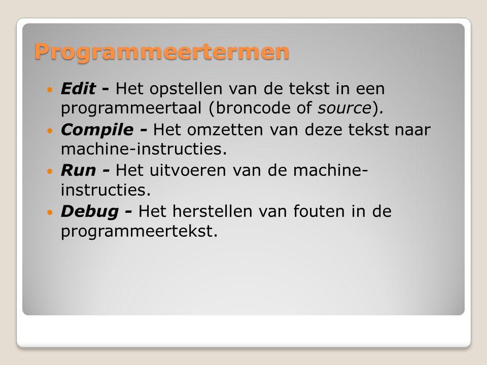 Programmeertermen Edit - Het opstellen van de tekst in een programmeertaal (broncode of source). Compile - Het omzetten van deze tekst naar machine-in