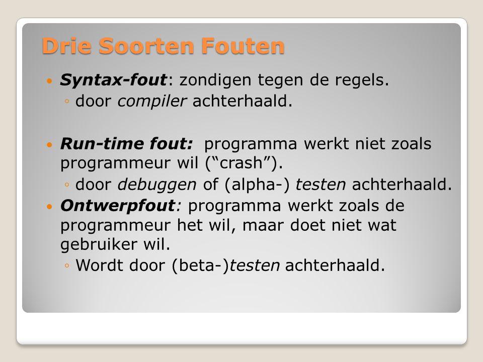 """Drie Soorten Fouten Syntax-fout: zondigen tegen de regels. ◦door compiler achterhaald. Run-time fout: programma werkt niet zoals programmeur wil (""""cra"""