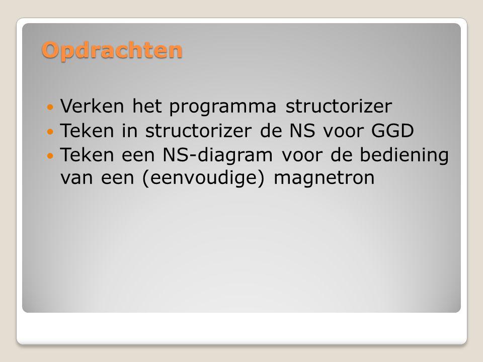 Opdrachten Verken het programma structorizer Teken in structorizer de NS voor GGD Teken een NS-diagram voor de bediening van een (eenvoudige) magnetro