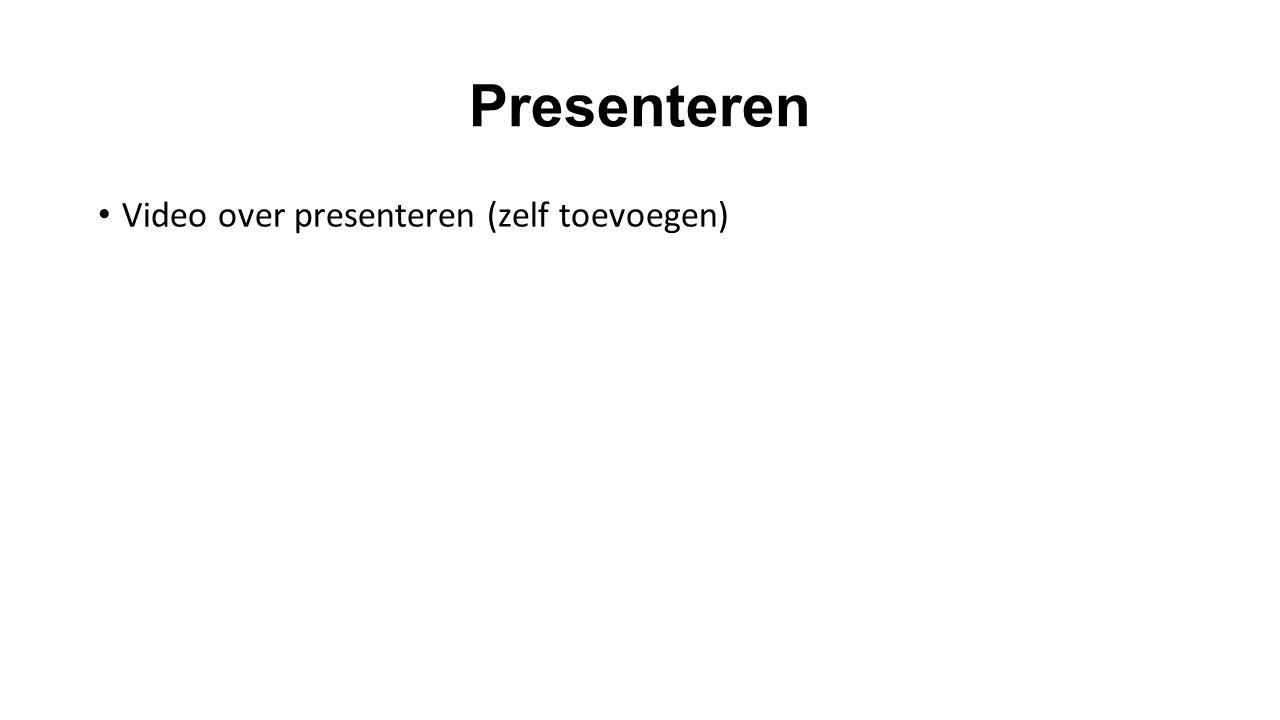 Presenteren Video over presenteren (zelf toevoegen)