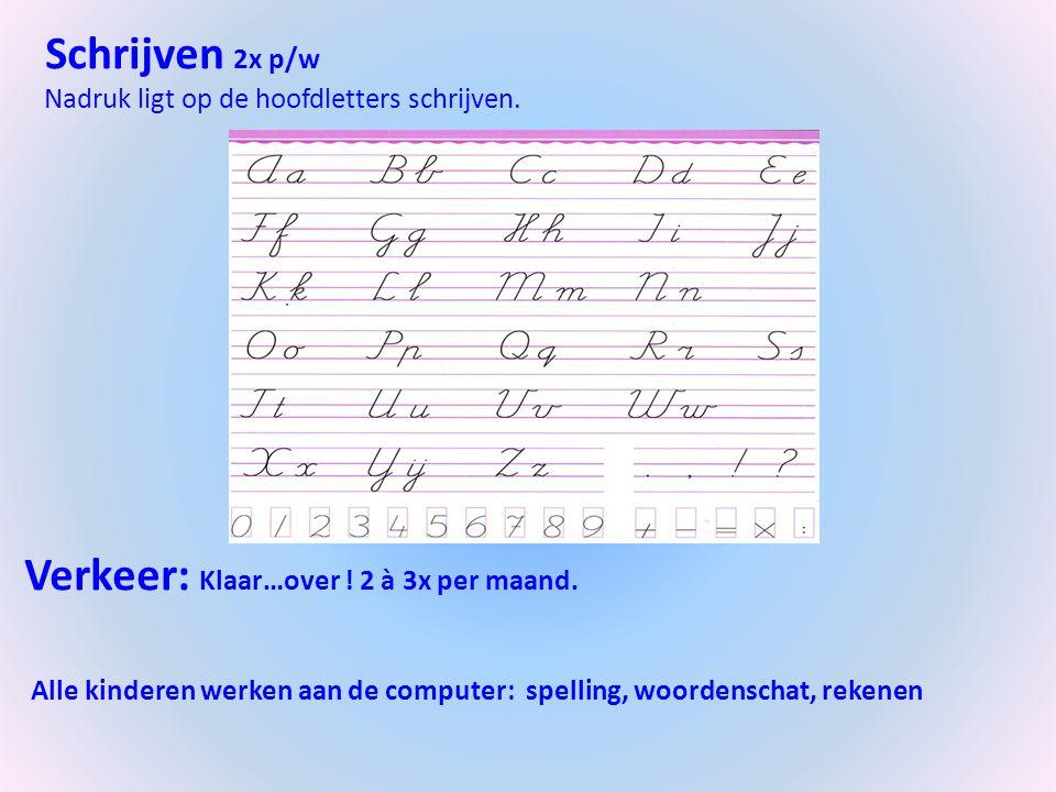 Schrijven 2x p/w Nadruk ligt op de hoofdletters schrijven. Verkeer: Klaar…over ! 2 à 3x per maand. Alle kinderen werken aan de computer: spelling, woo