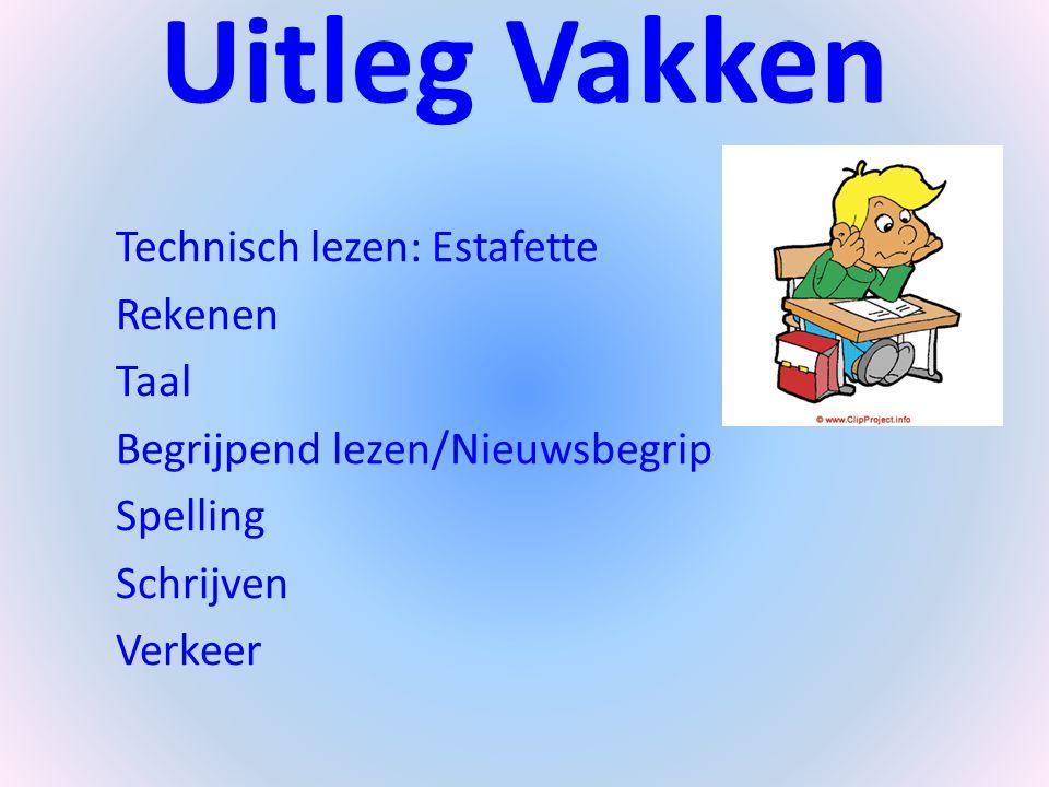 Uitleg Vakken Technisch lezen: Estafette Rekenen Taal Begrijpend lezen/Nieuwsbegrip Spelling Schrijven Verkeer