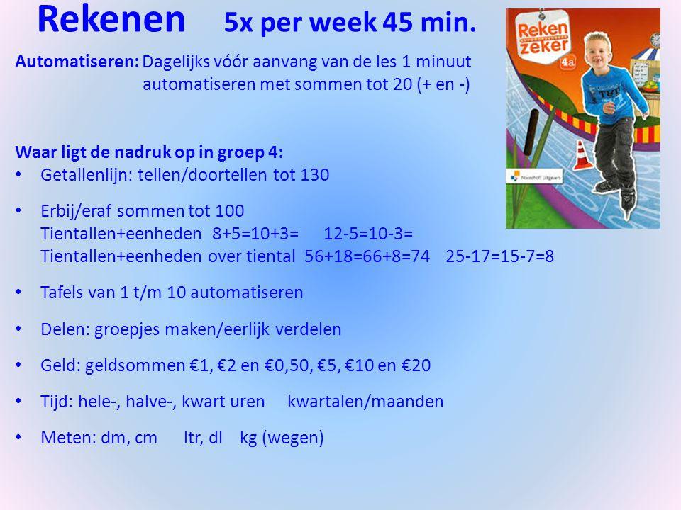 Rekenen 5x per week 45 min. Automatiseren: Dagelijks vóór aanvang van de les 1 minuut automatiseren met sommen tot 20 (+ en -) Waar ligt de nadruk op