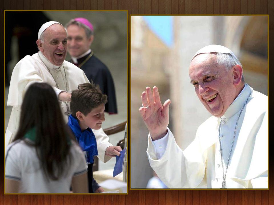 Paus Franciscus en de paters Augustijnen, bij zijn bezoek aan de Basiliek San Augustino te Rome.