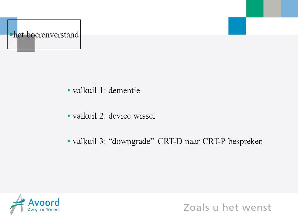 """ het boerenverstand valkuil 1: dementie valkuil 2: device wissel valkuil 3: """"downgrade"""" CRT-D naar CRT-P bespreken"""