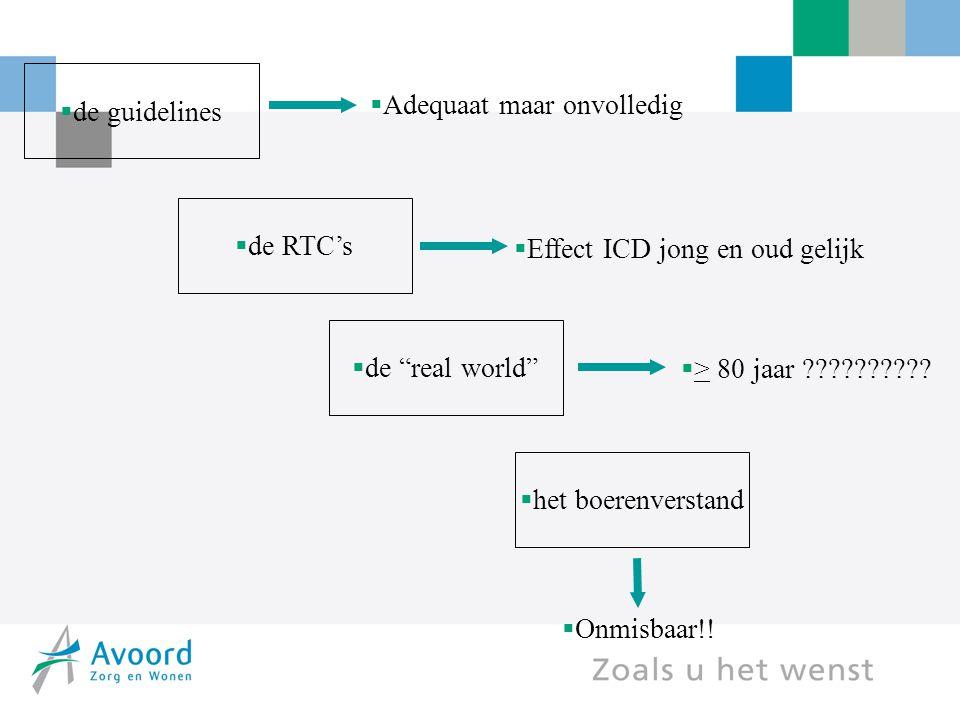 """ het boerenverstand  de guidelines  de RTC's  de """"real world""""  Adequaat maar onvolledig  Effect ICD jong en oud gelijk  > 80 jaar ?????????? """