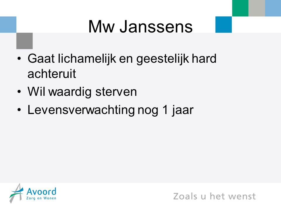 Mw Janssens Gaat lichamelijk en geestelijk hard achteruit Wil waardig sterven Levensverwachting nog 1 jaar