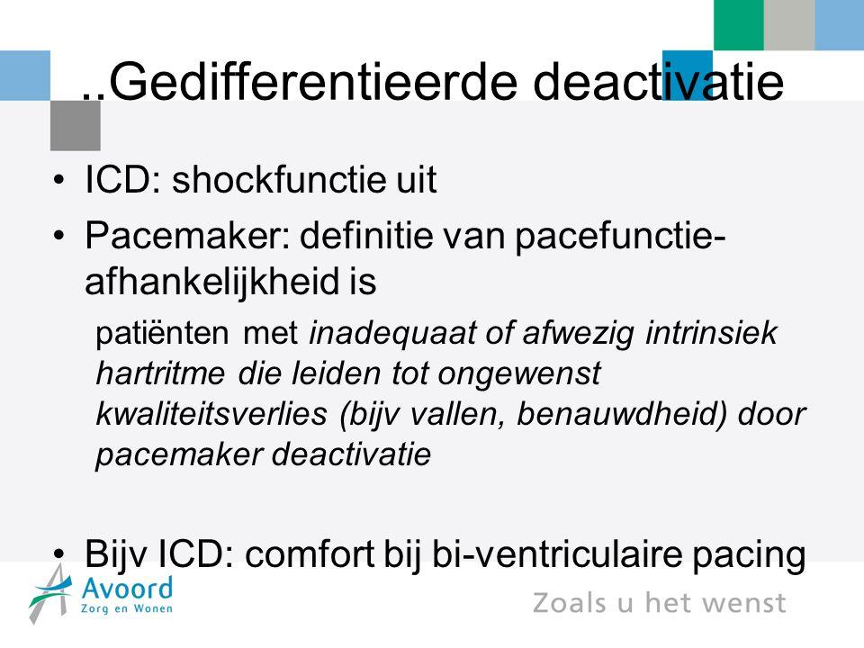 ..Gedifferentieerde deactivatie ICD: shockfunctie uit Pacemaker: definitie van pacefunctie- afhankelijkheid is patiënten met inadequaat of afwezig intrinsiek hartritme die leiden tot ongewenst kwaliteitsverlies (bijv vallen, benauwdheid) door pacemaker deactivatie Bijv ICD: comfort bij bi-ventriculaire pacing