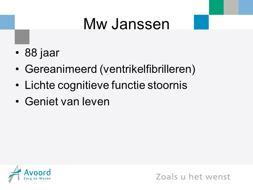 Mw Janssen 88 jaar Gereanimeerd (ventrikelfibrilleren) Lichte cognitieve functie stoornis Geniet van leven