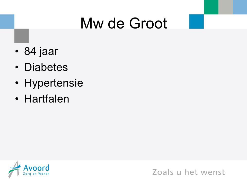 Mw de Groot 84 jaar Diabetes Hypertensie Hartfalen