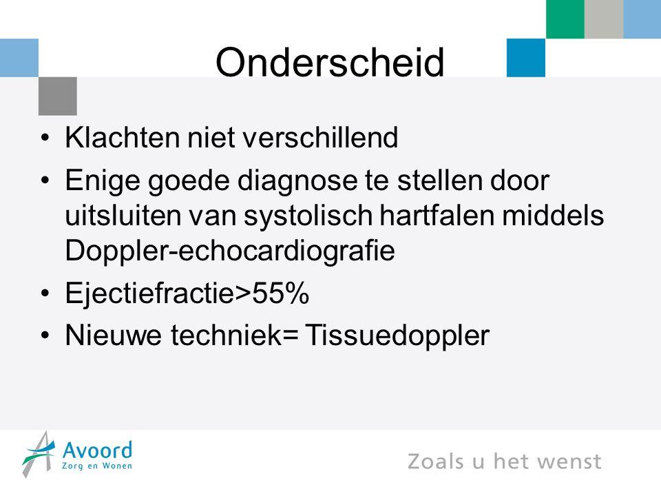 Onderscheid Klachten niet verschillend Enige goede diagnose te stellen door uitsluiten van systolisch hartfalen middels Doppler-echocardiografie Eject