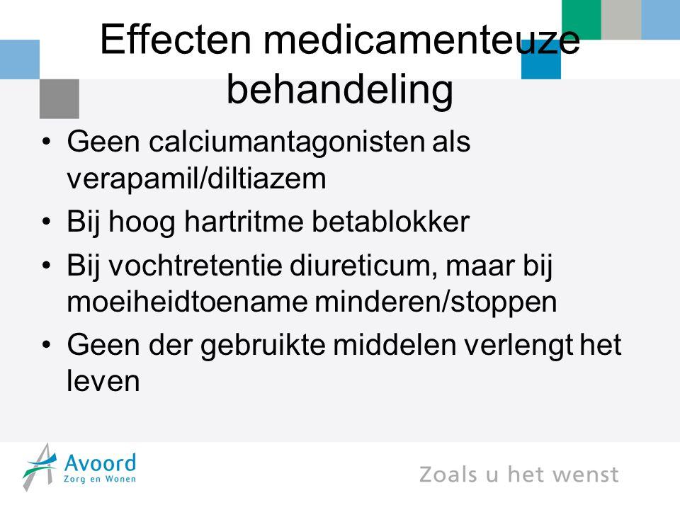 Effecten medicamenteuze behandeling Geen calciumantagonisten als verapamil/diltiazem Bij hoog hartritme betablokker Bij vochtretentie diureticum, maar bij moeiheidtoename minderen/stoppen Geen der gebruikte middelen verlengt het leven