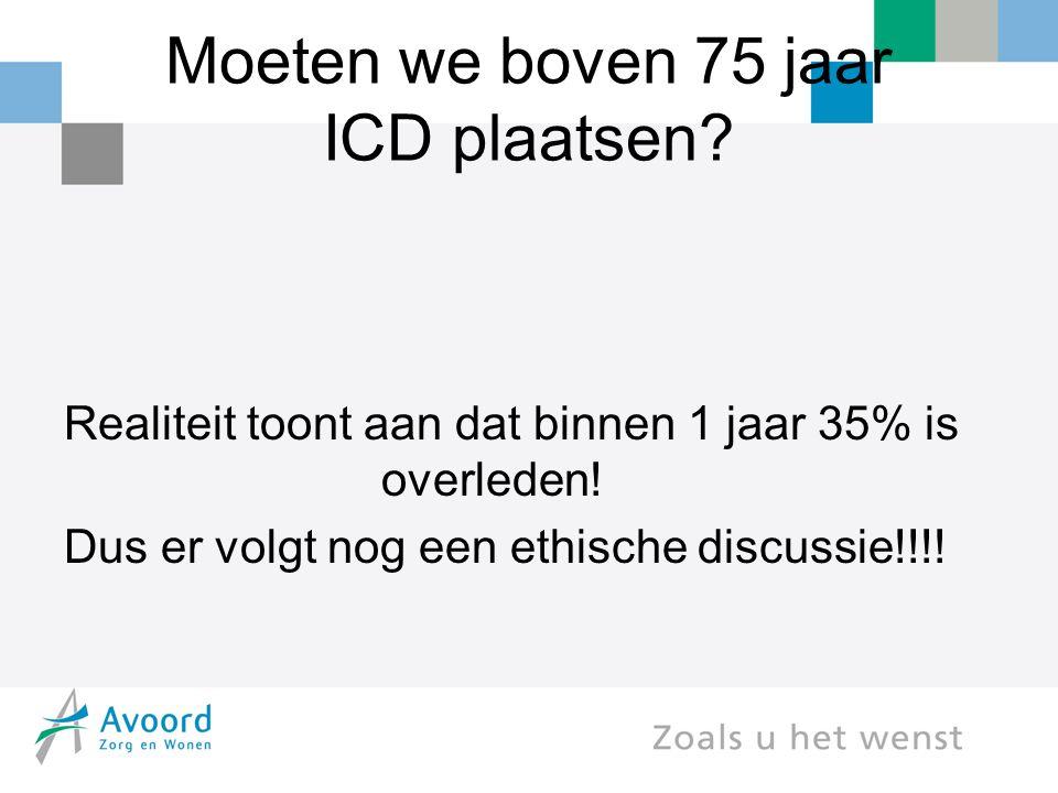 Moeten we boven 75 jaar ICD plaatsen? Realiteit toont aan dat binnen 1 jaar 35% is overleden! Dus er volgt nog een ethische discussie!!!!