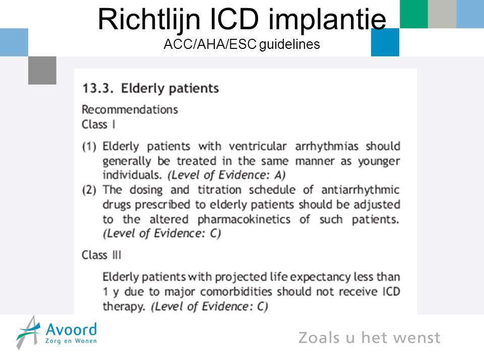 Shock frequentie aan het einde van het leven Retrospectieve cohort studie 100 overleden patiënten 27 kregen ICD shocks in de laatste maand waarvan 8 in de laatste levensminuten  Goldstein, Ann Int Med 2004;141:835-8
