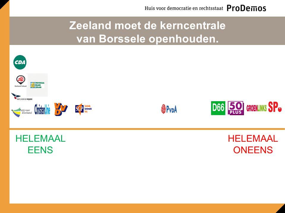HELEMAAL EENS HELEMAAL ONEENS Zeeland moet de kerncentrale van Borssele openhouden.