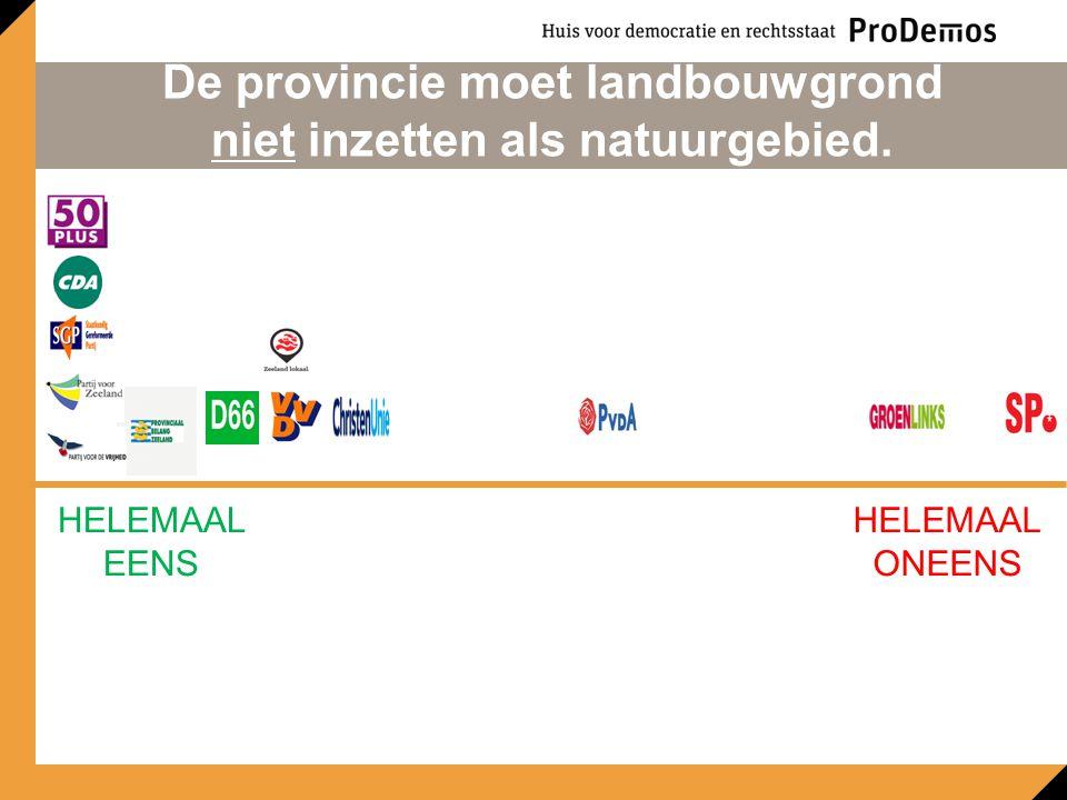 HELEMAAL EENS HELEMAAL ONEENS De provincie moet landbouwgrond niet inzetten als natuurgebied.