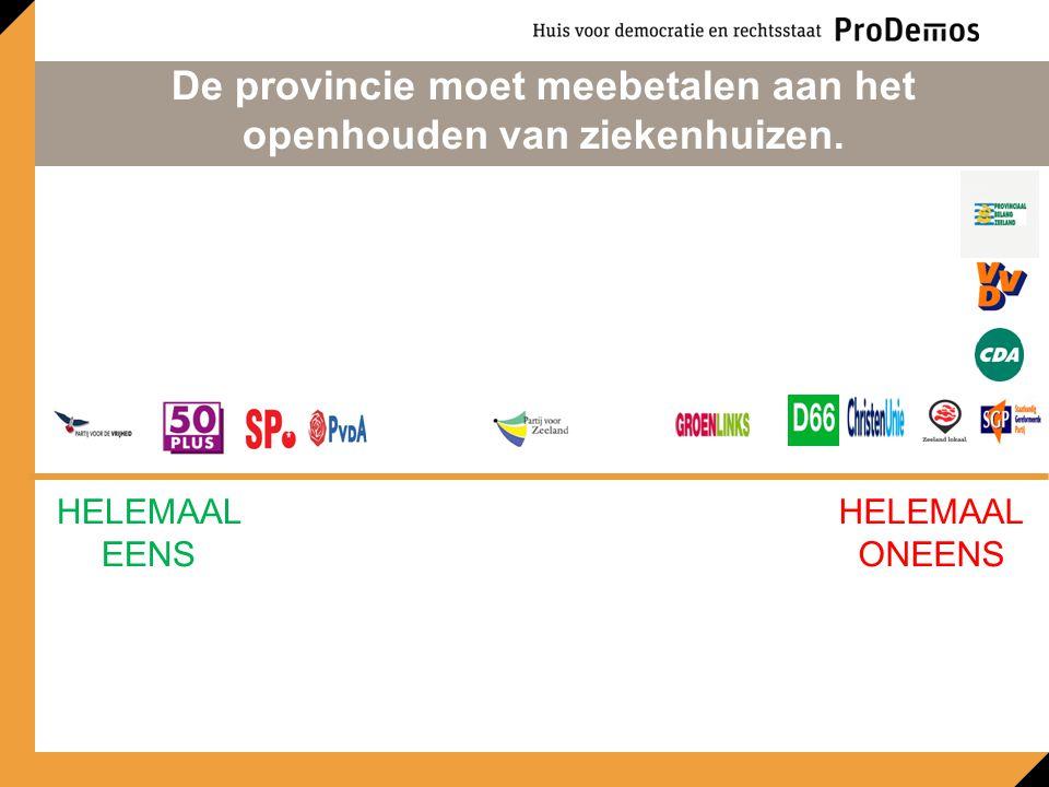 HELEMAAL EENS HELEMAAL ONEENS De provincie moet meebetalen aan het openhouden van ziekenhuizen.