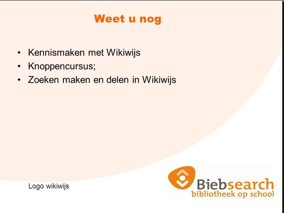 Weet u nog Kennismaken met Wikiwijs Knoppencursus; Zoeken maken en delen in Wikiwijs Logo wikiwijs