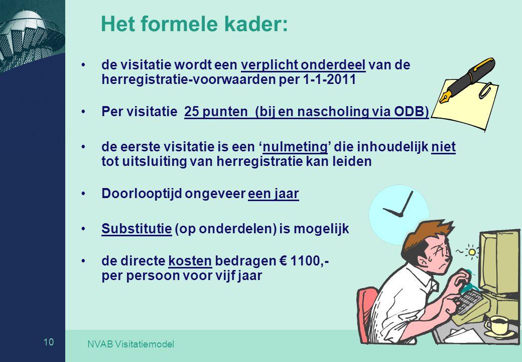 NVAB Visitatiemodel 10 Het formele kader: de visitatie wordt een verplicht onderdeel van de herregistratie-voorwaarden per 1-1-2011 Per visitatie 25 p