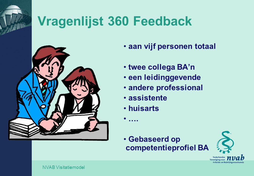 NVAB Visitatiemodel Vragenlijst 360 Feedback aan vijf personen totaal twee collega BA'n een leidinggevende andere professional assistente huisarts ….