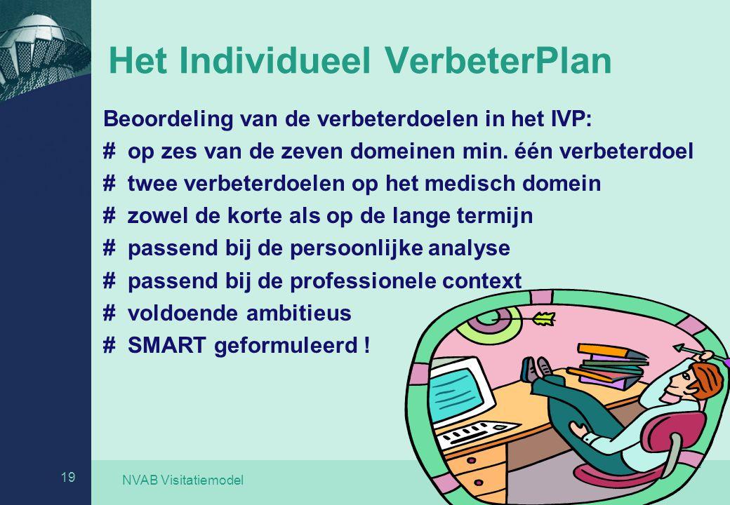 NVAB Visitatiemodel 19 Het Individueel VerbeterPlan Beoordeling van de verbeterdoelen in het IVP: # op zes van de zeven domeinen min. één verbeterdoel