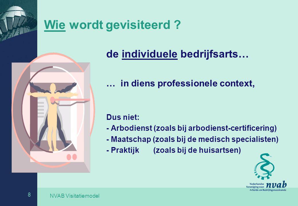 NVAB Visitatiemodel 8 Wie wordt gevisiteerd ? de individuele bedrijfsarts… … in diens professionele context, Dus niet: - Arbodienst (zoals bij arbodie