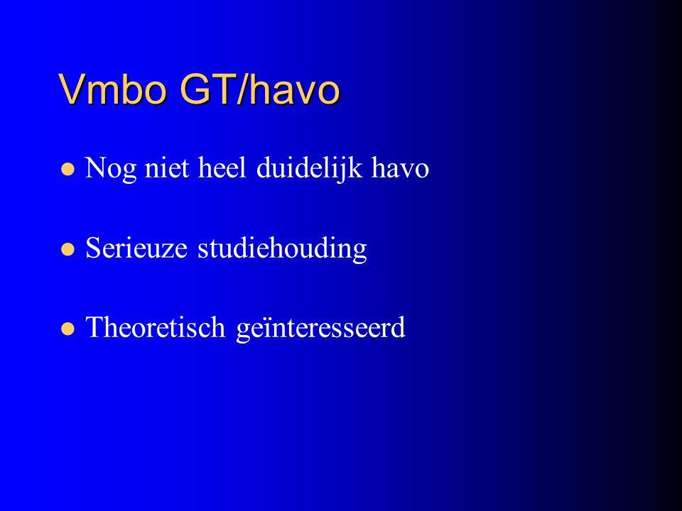 Vmbo GT/havo Nog niet heel duidelijk havo Serieuze studiehouding Theoretisch geïnteresseerd