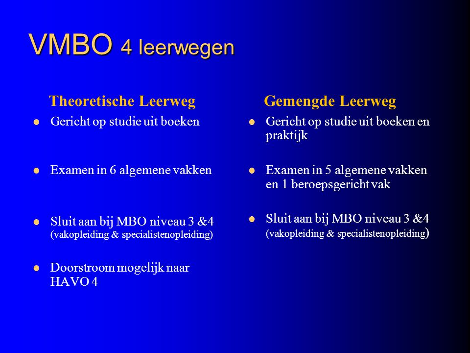VMBO 4 leerwegen Theoretische Leerweg Gericht op studie uit boeken Examen in 6 algemene vakken Sluit aan bij MBO niveau 3 &4 (vakopleiding & specialis