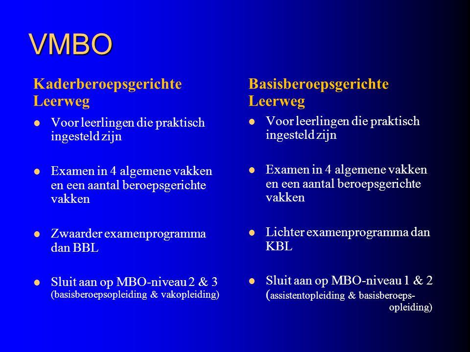 VMBO Kaderberoepsgerichte Leerweg Voor leerlingen die praktisch ingesteld zijn Examen in 4 algemene vakken en een aantal beroepsgerichte vakken Zwaard