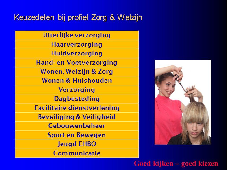 Keuzedelen bij profiel Zorg & Welzijn Uiterlijke verzorging Haarverzorging Huidverzorging Hand- en Voetverzorging Wonen, Welzijn & Zorg Wonen & Huisho