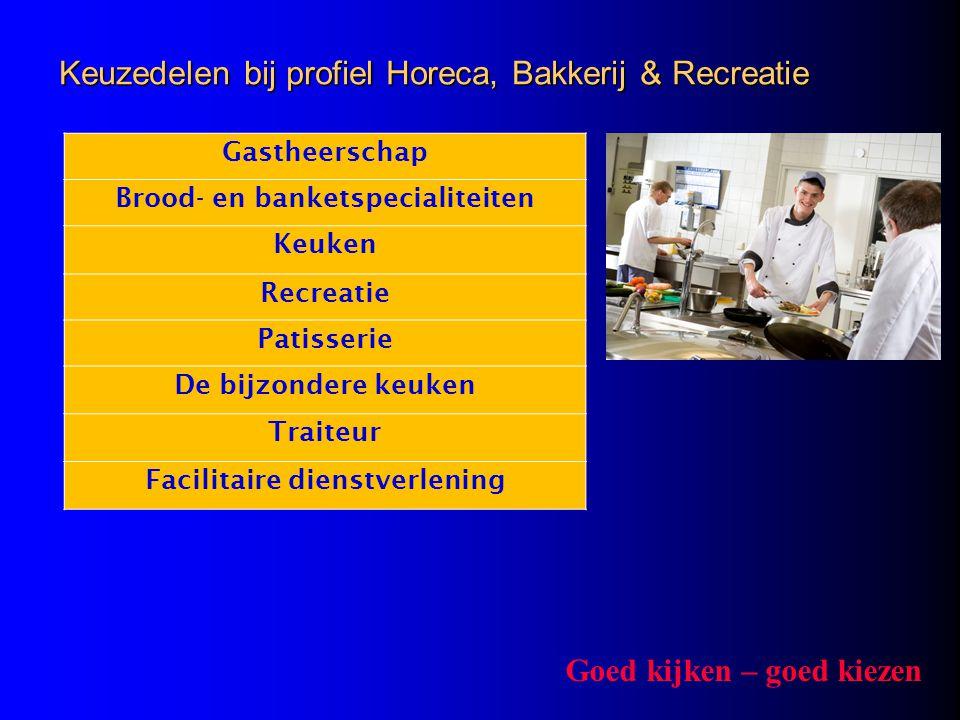 Keuzedelen bij profiel Horeca, Bakkerij & Recreatie Gastheerschap Brood- en banketspecialiteiten Keuken Recreatie Patisserie De bijzondere keuken Trai