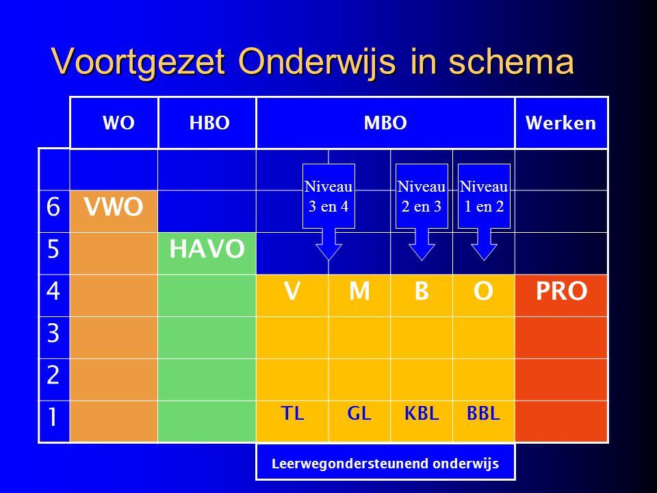 Voortgezet Onderwijs in schema 6 VWO 5 HAVO 4 VMBOPRO 3 2 1 TLGLKBLBBL WOHBOMBOWerken Leerwegondersteunend onderwijs Niveau 3 en 4 Niveau 2 en 3 Nivea