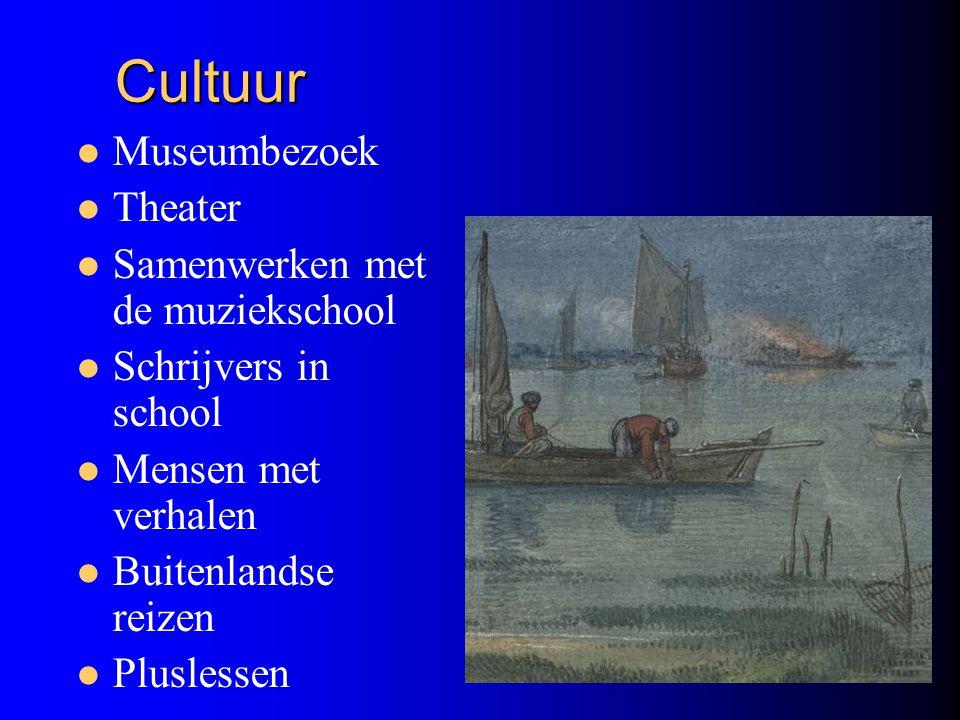 Cultuur Cultuur Museumbezoek Theater Samenwerken met de muziekschool Schrijvers in school Mensen met verhalen Buitenlandse reizen Pluslessen
