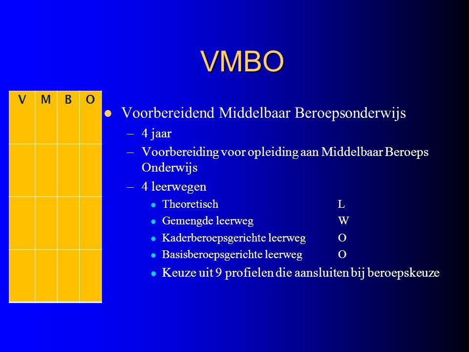 VMBO Voorbereidend Middelbaar Beroepsonderwijs –4 jaar –Voorbereiding voor opleiding aan Middelbaar Beroeps Onderwijs –4 leerwegen TheoretischL Gemeng