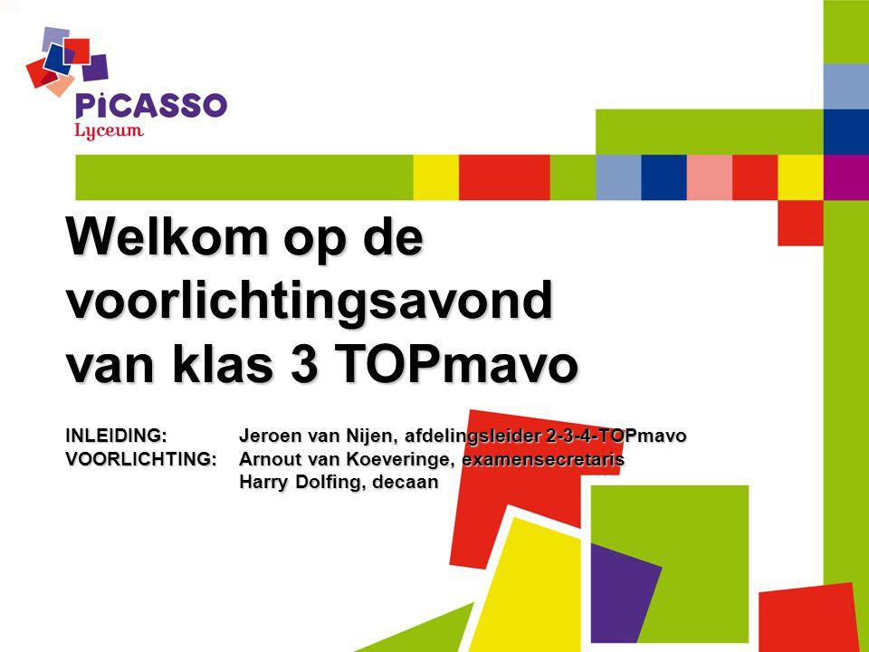 Welkom op de voorlichtingsavond van klas 3 TOPmavo INLEIDING:Jeroen van Nijen, afdelingsleider 2-3-4-TOPmavo VOORLICHTING: Arnout van Koeveringe, exam