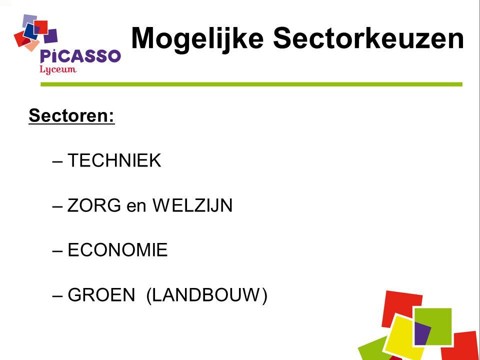 Mogelijke Sectorkeuzen Sectoren: –TECHNIEK –ZORG en WELZIJN –ECONOMIE –GROEN (LANDBOUW)