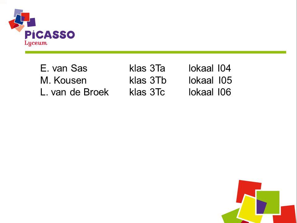 E. van Sasklas 3Ta lokaal I04 M. Kousenklas 3TblokaalI05 L. van de Broekklas 3Tclokaal I06