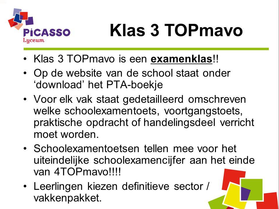 Klas 3 TOPmavo is een examenklas!! Op de website van de school staat onder 'download' het PTA-boekje Voor elk vak staat gedetailleerd omschreven welke