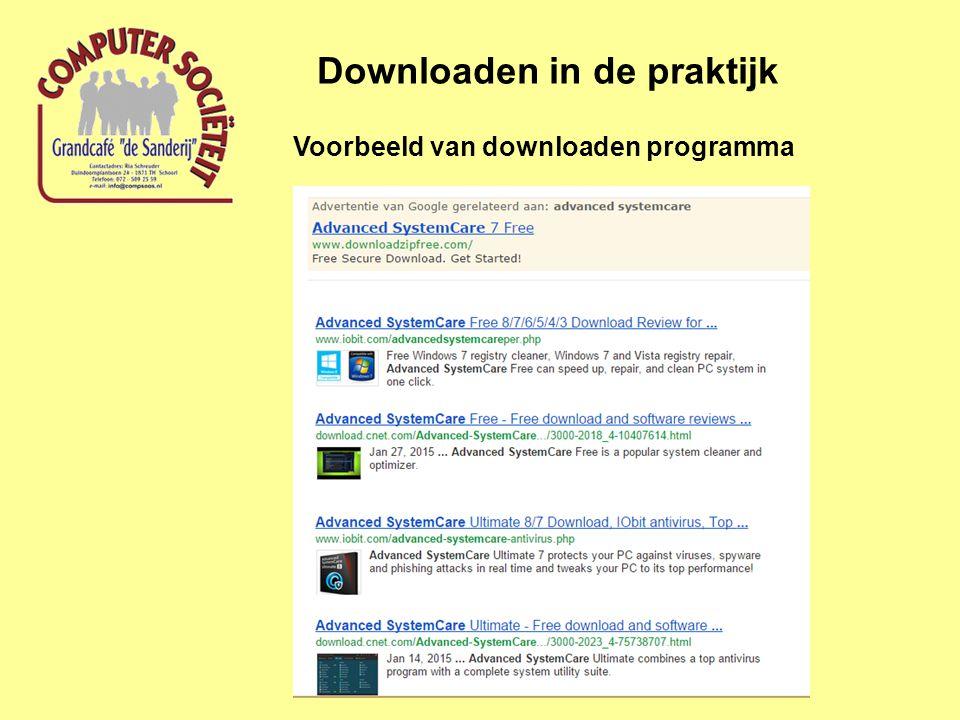 Voorbeeld van downloaden programma Downloaden in de praktijk