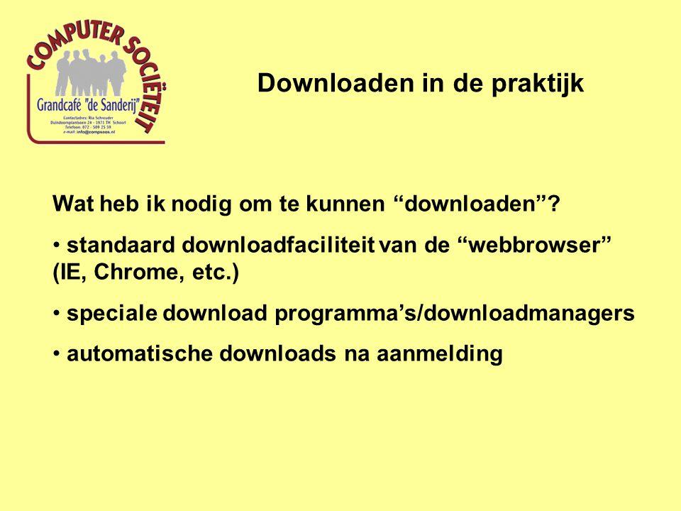Voorbeeld van downloaden programma Downloaden in de praktijk Downloaden en installeren van de gratis versie van het onderhoudsprogramma Advanced Systemcare (IOBit)  Kies voor de site van de maker (IOBit) Het blijkt dat IOBit de downloadprocedure heeft ondergebracht bij de downloadsite http://download.cnet.com/ http://download.cnet.com/