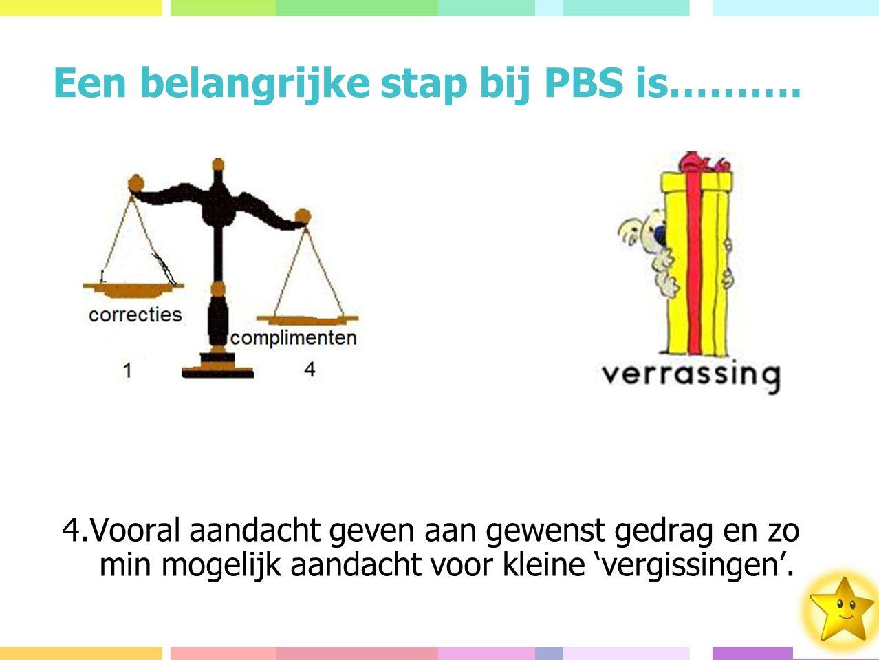 Een belangrijke stap bij PBS is……….