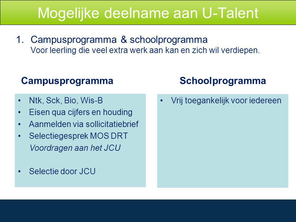 Mogelijke deelname aan U-Talent 1.Campusprogramma & schoolprogramma Voor leerling die veel extra werk aan kan en zich wil verdiepen.