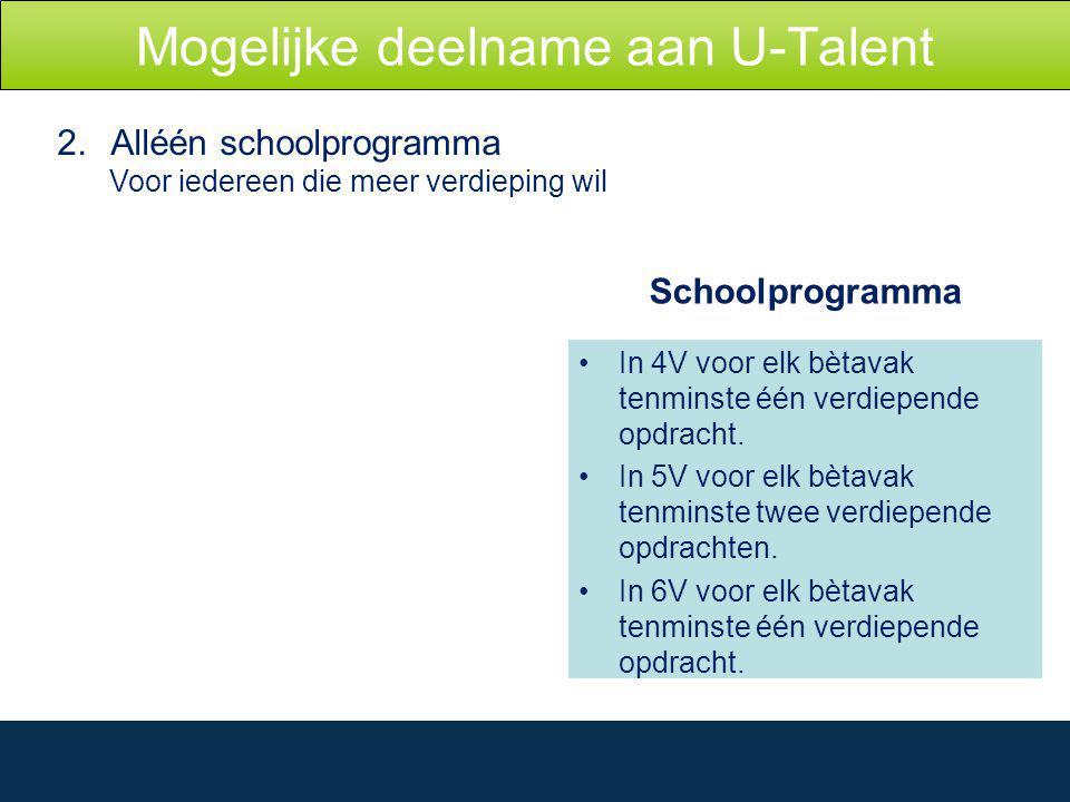 Mogelijke deelname aan U-Talent 2.Alléén schoolprogramma Voor iedereen die meer verdieping wil Schoolprogramma In 4V voor elk bètavak tenminste één verdiepende opdracht.