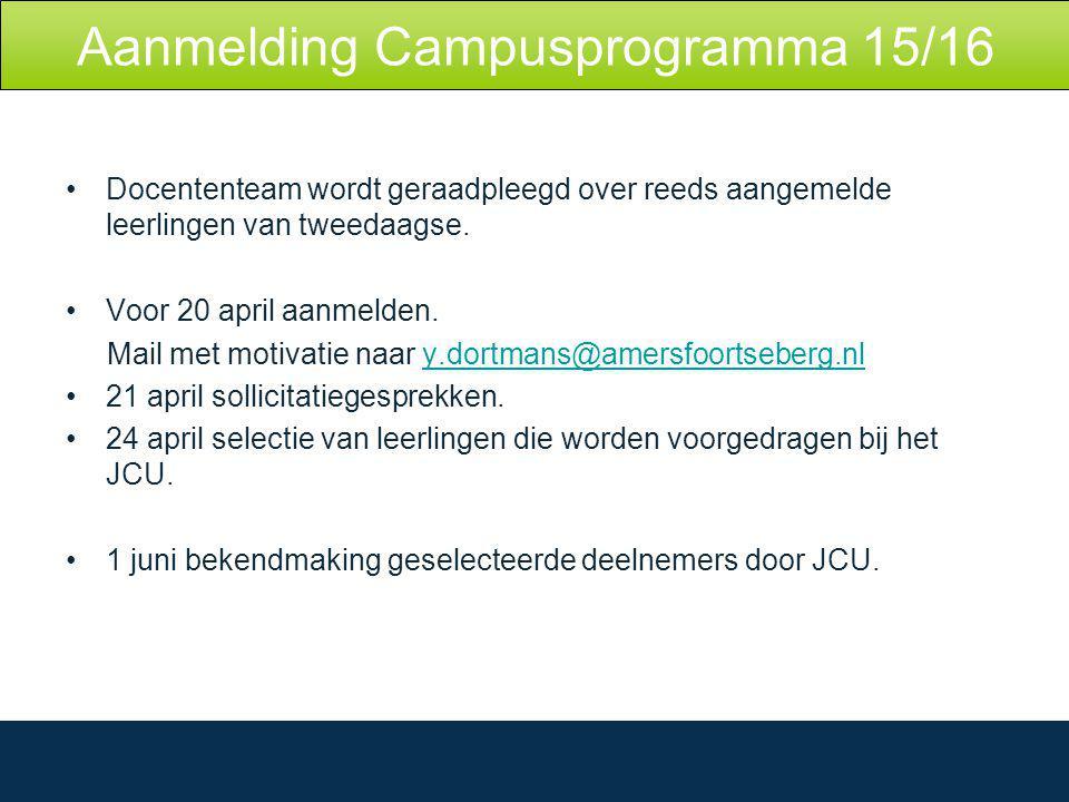 Aanmelding Campusprogramma 15/16 Docententeam wordt geraadpleegd over reeds aangemelde leerlingen van tweedaagse.