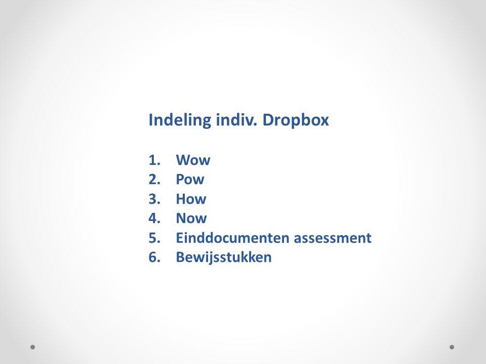 Indeling indiv. Dropbox 1.Wow 2.Pow 3.How 4.Now 5.Einddocumenten assessment 6.Bewijsstukken
